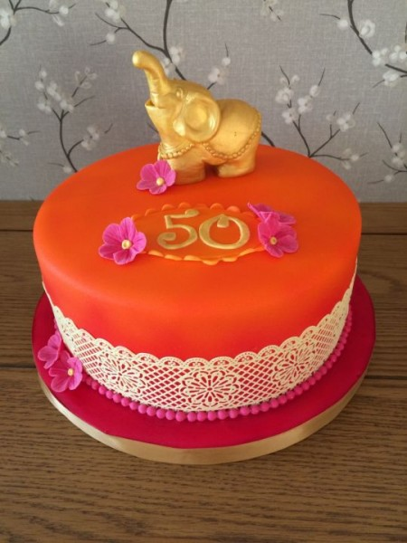 Indian Style 50th Birthday Cake
