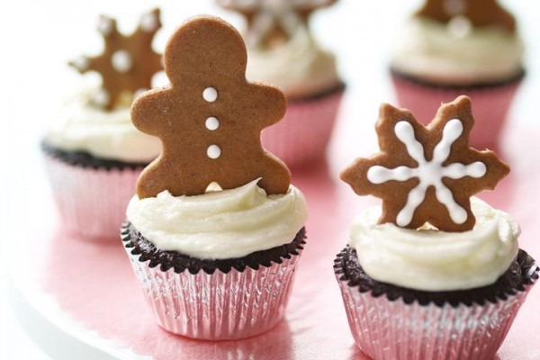 Martha Stewart's Chocolate Cupcakes With Gingerbread Toppers