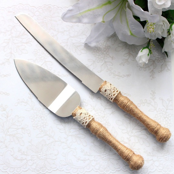 Rustic Wedding Cake Serving Set Burlap And Lace Cake Servers And
