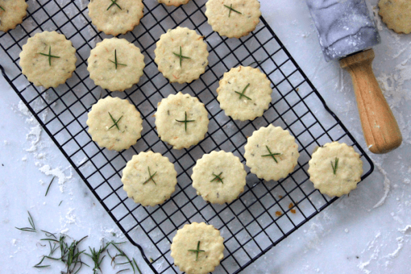 Lemon & Rosemary Shortbread Cookies With Sea Salt