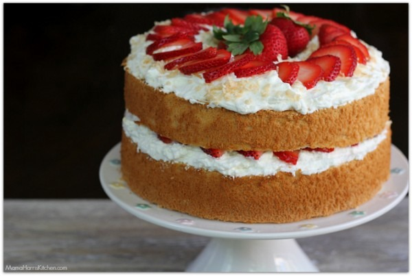 Strawberries And Cream Angel Food Cake With Toasted Coconut