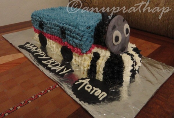 Anu Prathap's Kitchen  Thomas Train Cake For A 7 Year Old Boy