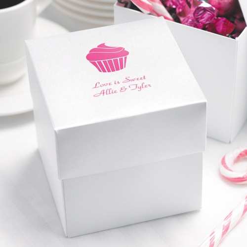 White Shimmer Two Piece Cup Cake Box