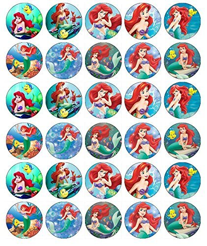 30 X Edible Cupcake Toppers – Little Mermaid Ariel Themed