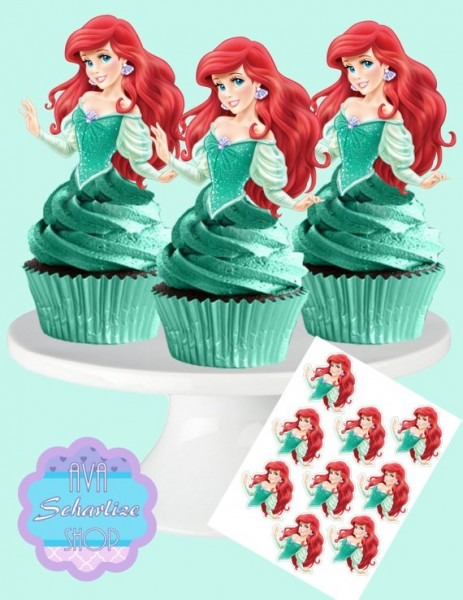 Princess Ariel, The Little Mermaid, Cupcake Toppers, Cupcake Picks