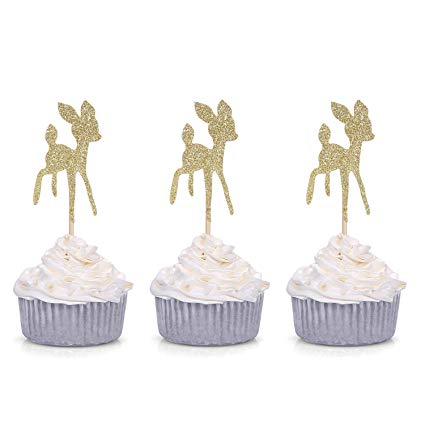 Amazon Com  24 Ct Gold Glitter Baby Deer Cupcake Toppers Birthday