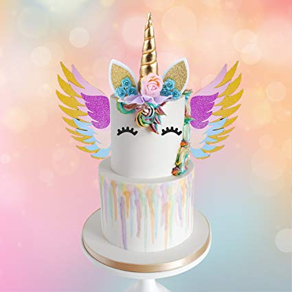 Amazon Com  Mordun Unicorn Cake Topper Gold Set