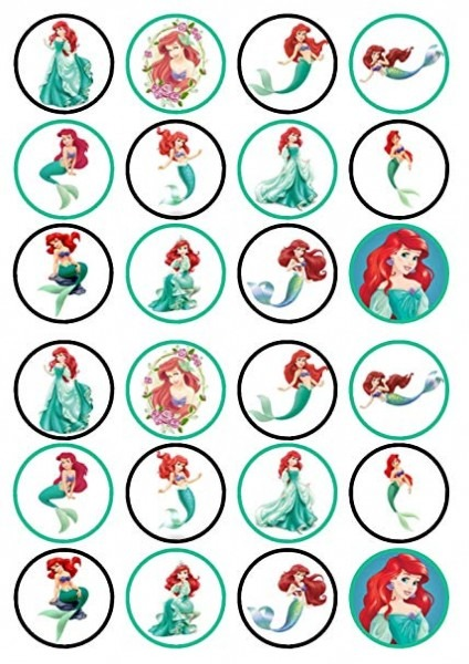 Amazon Com  24 Princess Ariel, The Little Mermaid Precut Edible