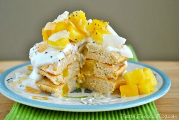 Pina Colada Protein Pancakes Made With Pineapple Greek Yogurt From