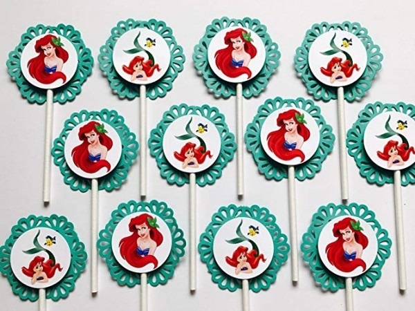 Amazon Com  12 Ariel Little Mermaid Cupcake Topper
