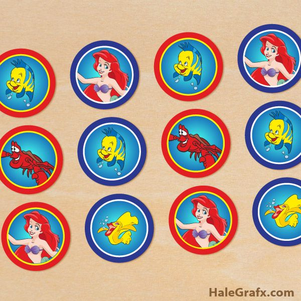 Little Mermaid Toppers {free} Printable Disney Little Mermaid