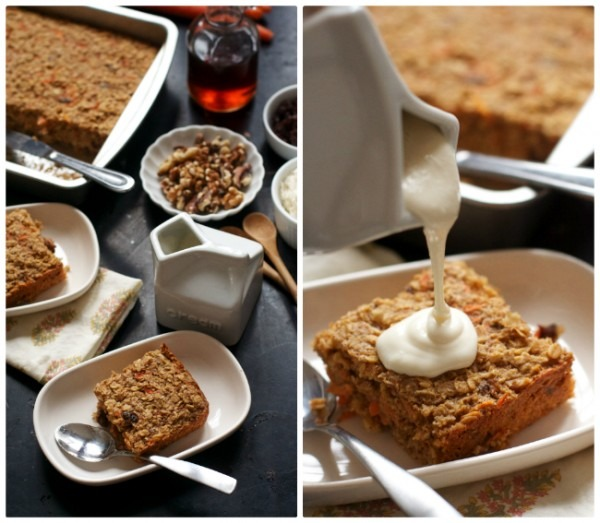 Carrot Cake Baked Oatmeal With Cream Cheese Topping (gluten