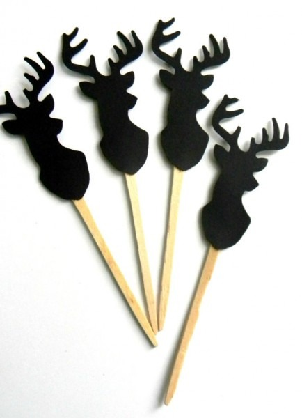 12 Deer Cupcake Toppers, Woodland Theme, Deer Picks, Cake Topper