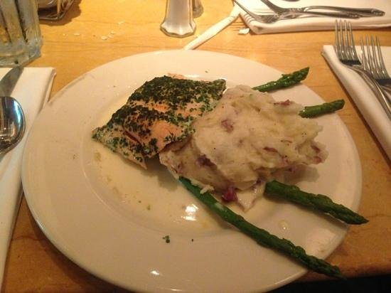 Herb Crusted Salmon W  Mashed Potatoes And Asparagus