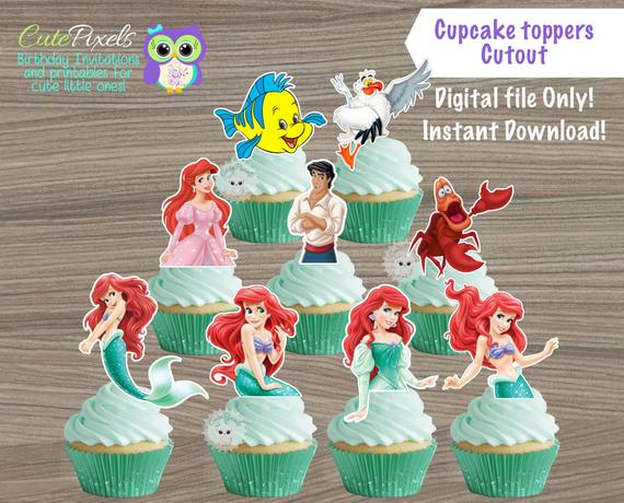 The Little Mermaid Cupcake Toppers Princess Ariel Cupcake