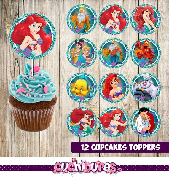 12 Little Mermaid Cupcakes Toppers Instant Download Printable