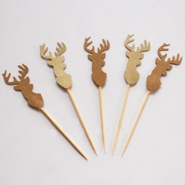 Kraft Paper Deer Cupcake Toppers, Woods Forest Topper, Deer