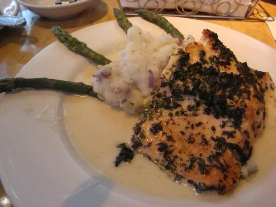 Herb Crusted Salmon, Asparagus, Mashed Potatoes