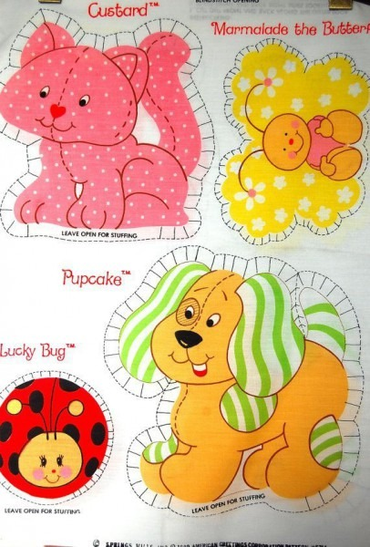 70s Vintage Strawberry Shortcake Pets Pillow Panel Sewing Craft