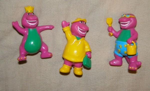 Ebluejay  X3 Small Plastic Barney Toy   Cake Topper Figures 2 5