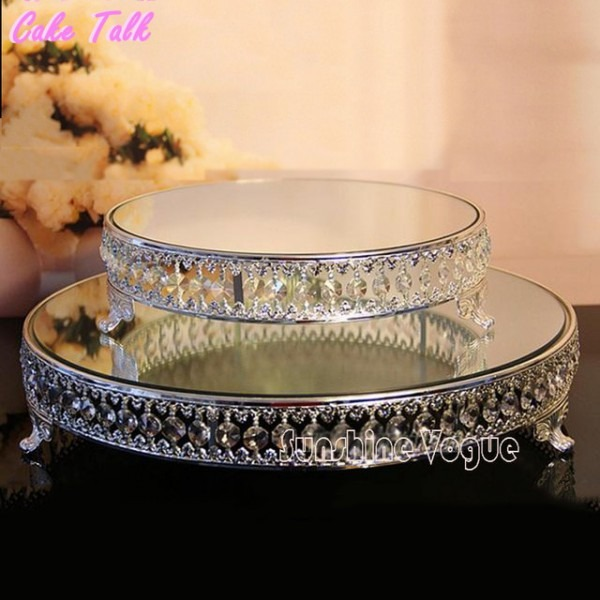 18 Inch Crystal Beads Cake Stand Silver Gold Plated Mirror Surface