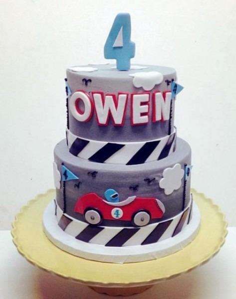 2 Tier Racing Theme Cake For 4
