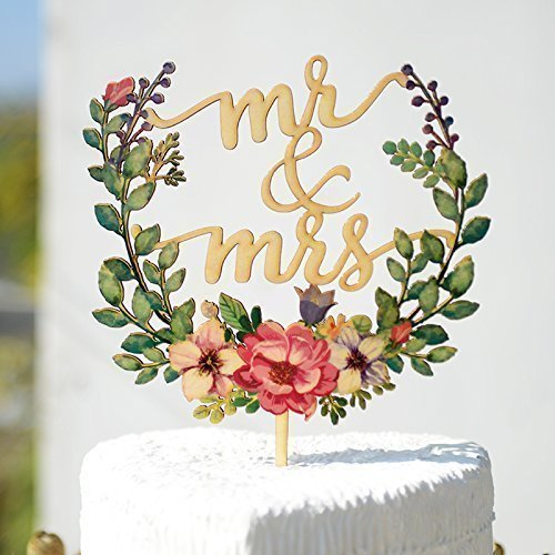Amazon Com  Floral Wreath Style Wedding Cake Topper, Mr & Mrs