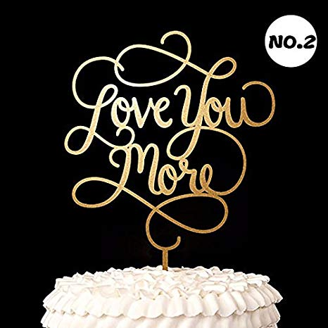 Amazon Com   Love You More  Cake Toppers Wood Rustic Wedding Decor