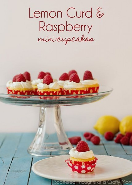Lemon Curd And Raspberry Mini Cupcakes (from A Boxed Cake Mix