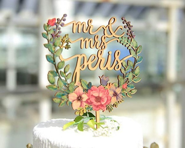 Amazon Com  Floral Wreath Style Wedding Cake Topper With Name, Mr