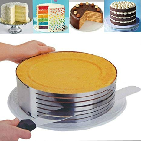 Amazon Com  Layer Cake Slicing  Adjustable Cake Ring 9 8