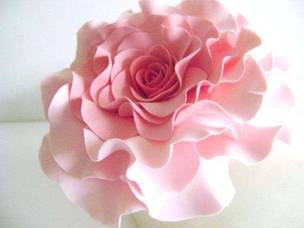 Coral Pink Rose Cake Topper Wedding Blush Rose Cake Flower