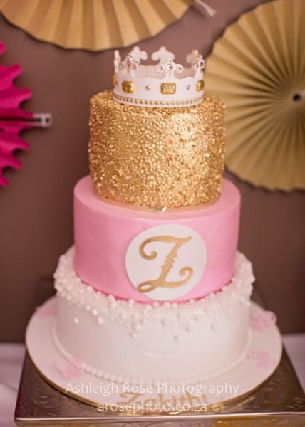 Gold And Pink 3 Tier Cake With Crown