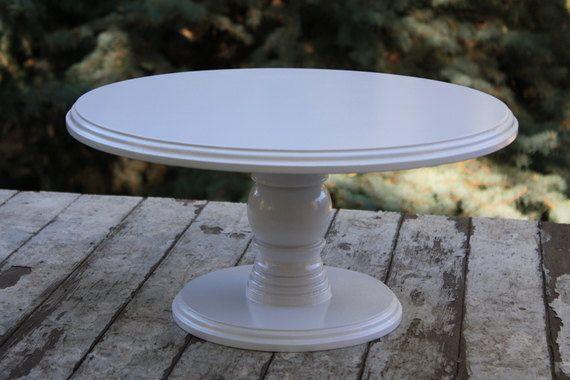 Cake Stand 16 Inch Round Wood Cake Or Dessert By Timberandstitch