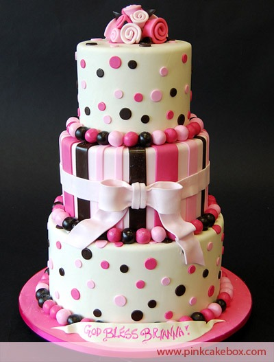 Pink & Brown 3 Tier Cake