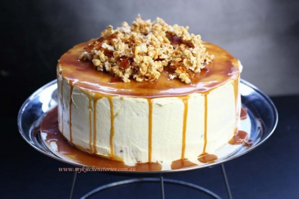 Caramel Covered Carrot Cake With A Popcorn