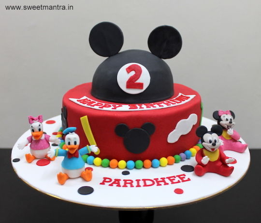 Disney Mickey Mouse Theme 2 Layer Designer Fondant Cake With 3d