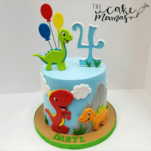 Simple Dinosaur Themed 4th Birthday Cake! Call Or Email To Order