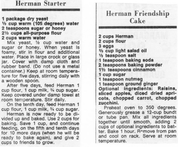 Herman Starter And Herman Friendship Cake  I Remember Having These