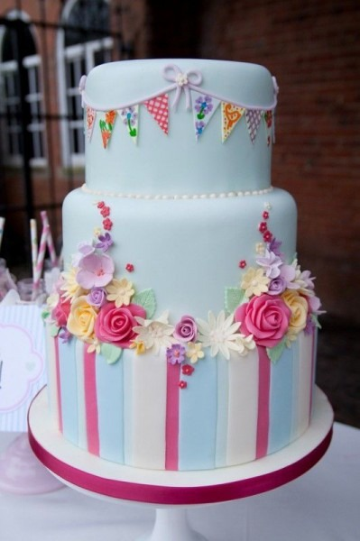 3 Tiered Cake  Stripes, Flowers, Bunting