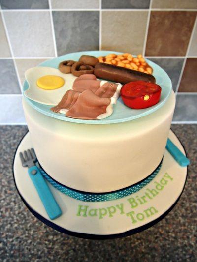 Fry Up Full English Breakfast Birthday Cake! Handmade Fondant