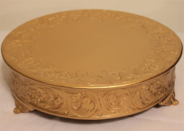 Grand Wedding Matte Gold Round Cake Stand Plateau 18 Inch