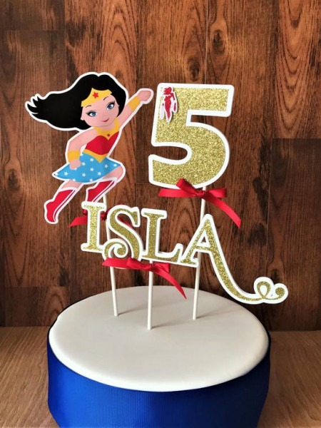 Wonder Woman Cake Topper Wonder Woman Personalized Topper