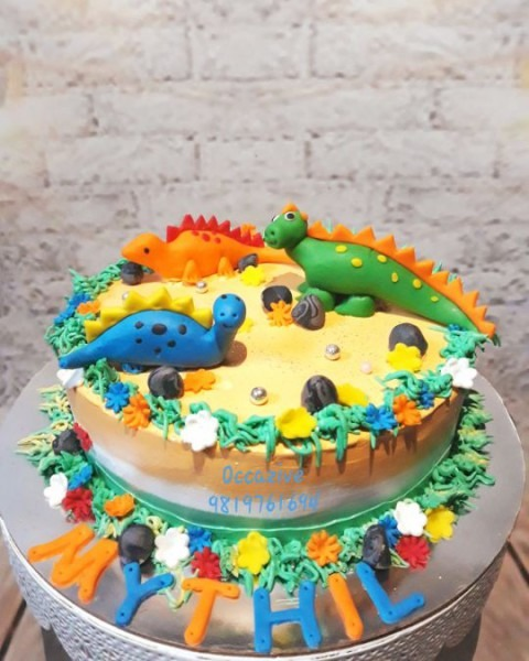 Dinosaur Themed Cake In Tiranga Theme