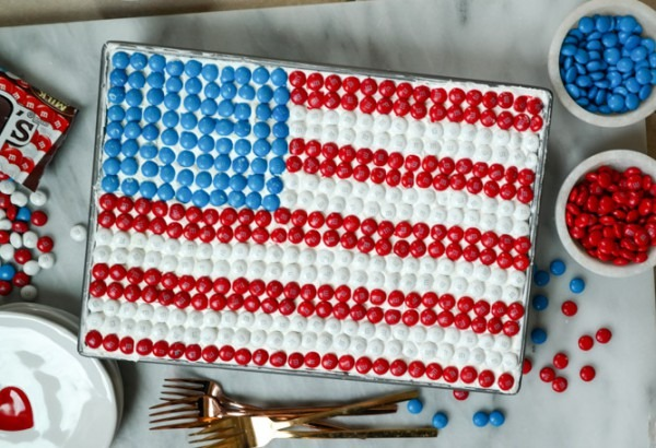 It's A Video! Red, White And Blue Poke Cake With M&m's