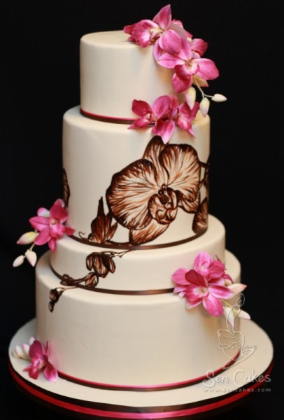 Orchid Wedding Cake Design • Best Cake Blog