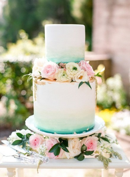 Teal And Gold Watercolor Wedding Cake