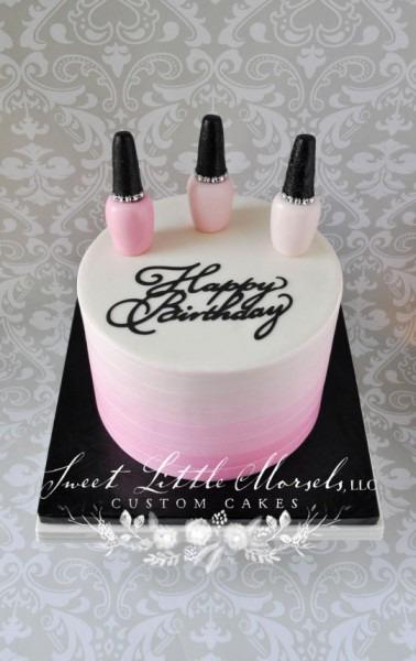 Pink Ombre Nail Polish Theme Birthday Cake