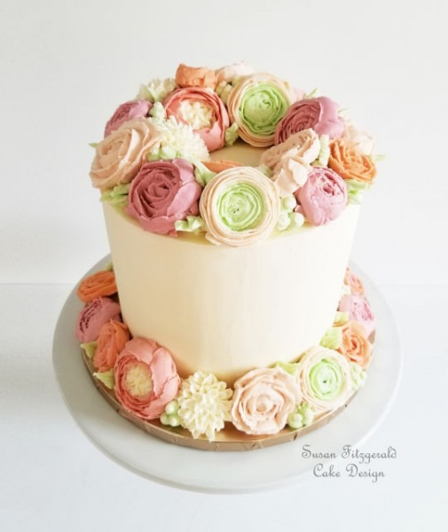 50th Birthday Cake With Buttercream Flowers