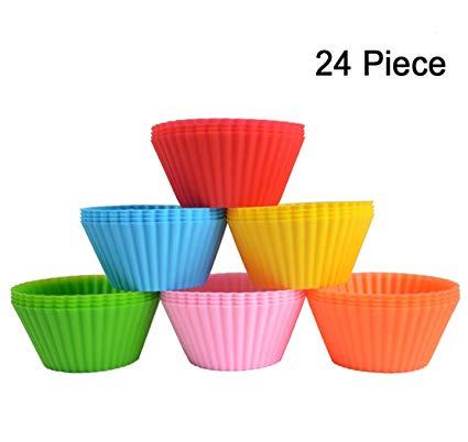 Amazon Com  24 Pack Silicone Cupcake Baking Cups 24 Reusable Non